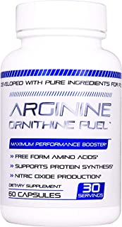 Arginine Ornithine Fuel - Nitric Oxide Booster for Physical Endurance and Power Also Great for Stamina, Size, Energy, and Endurance 60 caps
