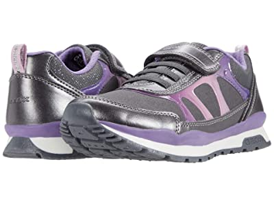 Geox Kids Pavel 8 (Little Kid/Big Kid) (Dark Grey/Dark Violet) Girl