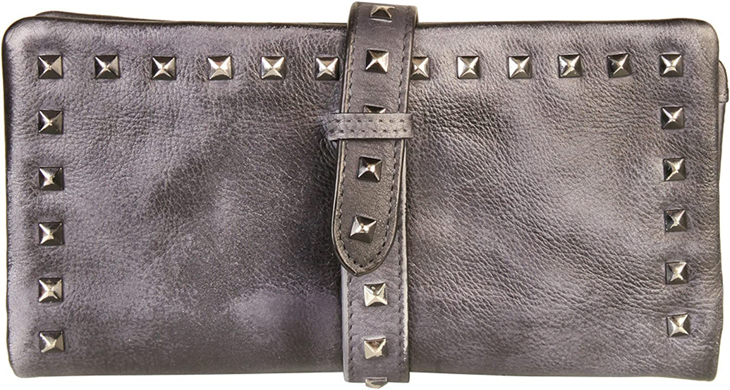 Diophy Genuine Leather Stylish Studded Card Holder Wallet 8169 Grey