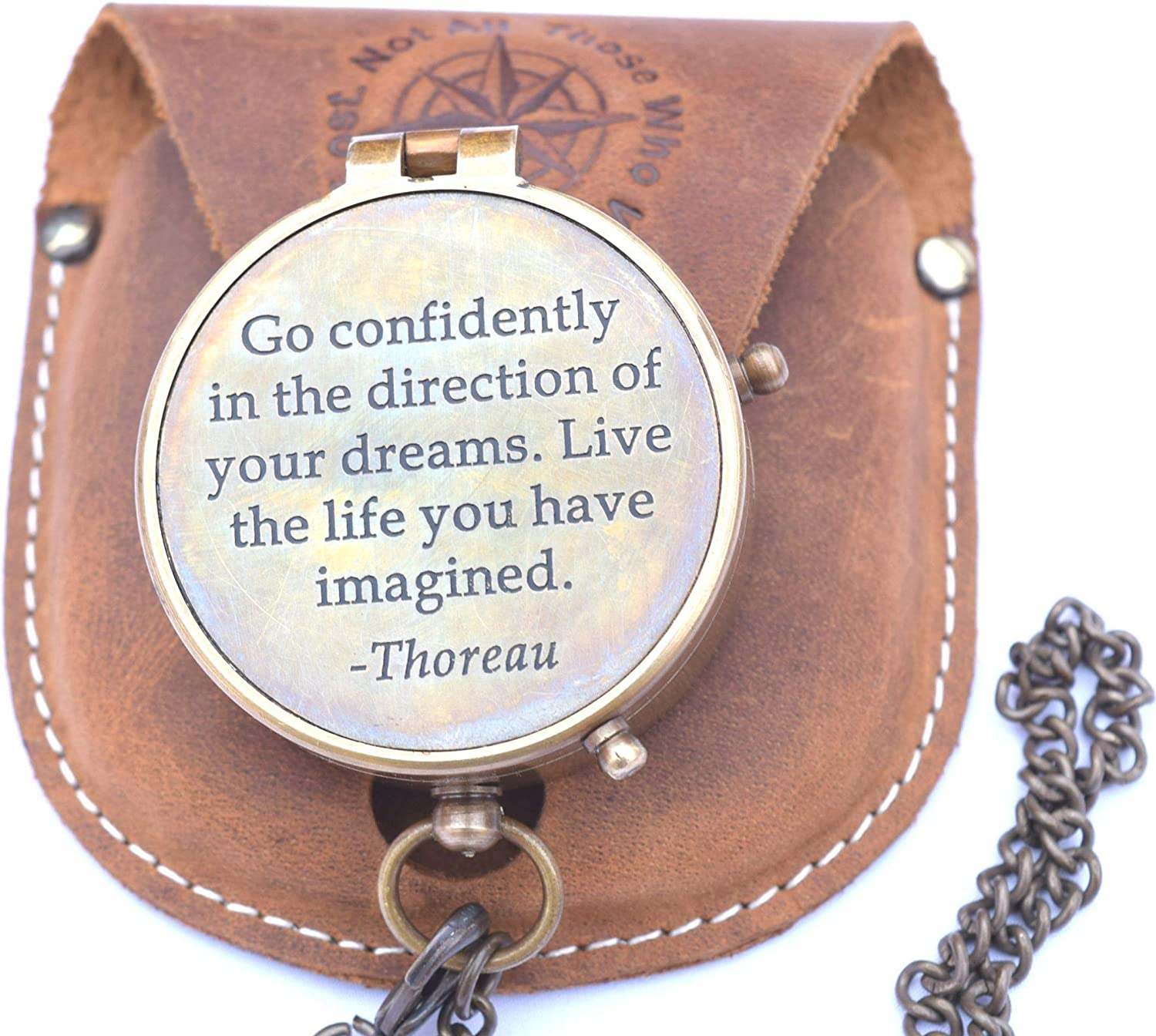 RIRHTAJUS Thoreau's Go Confidently Quote Engraved Brass New product! New type Compass Max 78% OFF