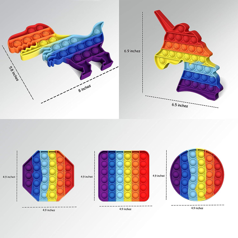 Pop Bubble Fidget Sensory Toy Rainbow Unicorn Dinosaur Fidget Stress Reliever Fidget Toys,Fidget Toys for Kids Adults