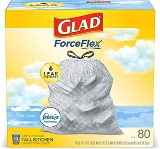 Glad ForceFlex Tall Kitchen Drawstring Trash Bags – 13 Gallon Trash Bag, Fresh Clean..