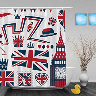 Red White Blue United Kingdom Design Elements Bathroom Shower Curtains Big Ben UK Flag Decor Shower Curtain Waterproof Mildewproof Not Fade Polyester Fabric Fabric 60