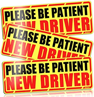 New Driver Magnet for Car, Reflective Please Be Patient New Driver Sign, Student Novice Driver Magnetic Safety Signs, Teen Rookie Driver Warning Vehicle Bumper Sticker, Removable, 10×3.5in