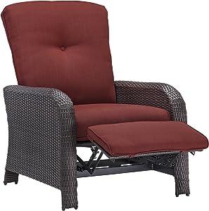 Hanover Strathmere Outdoor Luxury Recliner, Rich Brown/Crimson Red