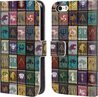 Official Assassin's Creed Inisignia Odyssey Flags Leather Book Wallet Case Cover Compatible for iPhone 5 iPhone 5s iPhone SE