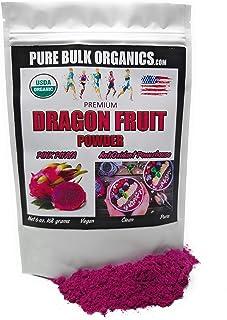 Pure Bulk Organics Dragon Fruit Powder Fresh Freeze Dried Organic Pink Pitaya Antioxidant Powerhouse Prebiotic Aids Digest...