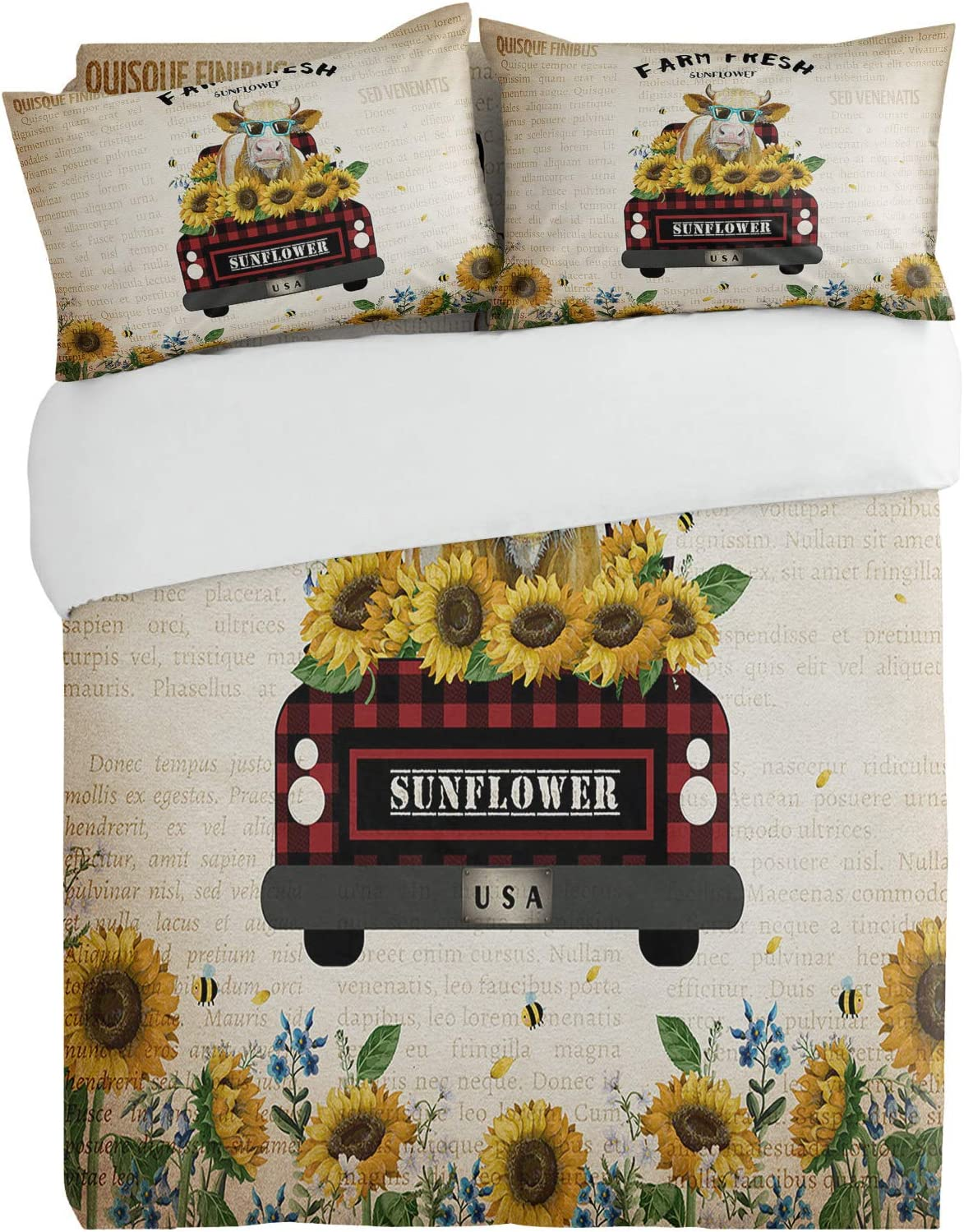 Baltimore Mall 3PiecesBeddingDuvetCoverSetCow Bee Ranking TOP13 Sunflower Farm Su Truck