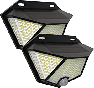 SEFON 308LED Solar Lights Outdoor with 3 Lighting Modes, IP65 Waterproof Solar Security Light for Garden, Yard, Patio, Garage Pathway, 2Packs