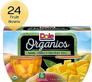 DOLE FRUIT BOWLS, Organics Mango Chunks in 100% Fruit Juice, 4 Ounce (4 Cups)
