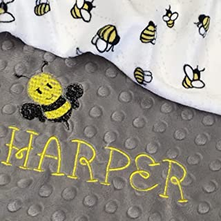 Bee blanket, Bumblebee Blanket, Personalized Baby Blanket, Gray and Yellow Bumble Bee Baby Blanket,Newborn Girl or Newborn Boy, Baby Blanket, Baby Shower Gift, Newborn Gift Personalized
