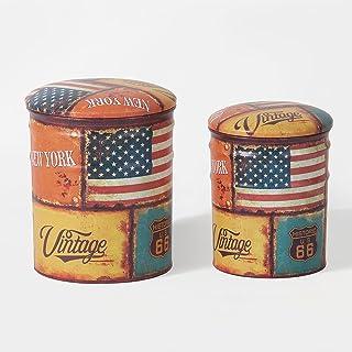 SoBuy® FSS58 Lot de 2 Poufs Coffres de Rangement Repose-Pieds Assise Rembourrée en Métal – New York