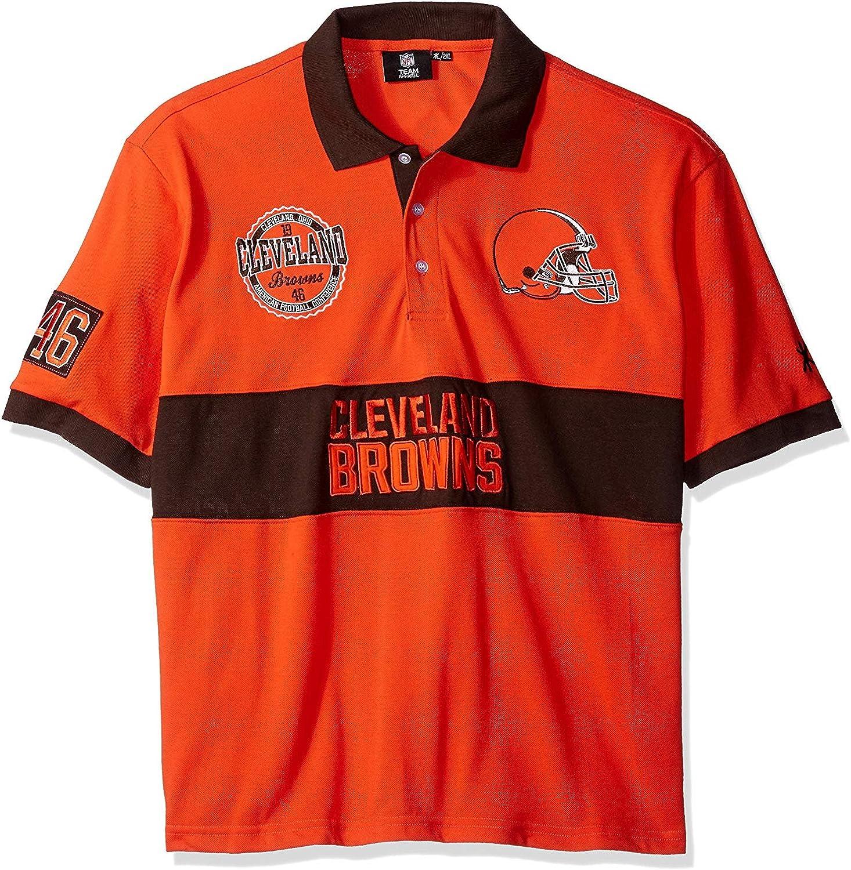 NFL Cleveland Browns Men's Cotton Wordmark Rugby Short Sleeve Polo Shirt, Large, orange