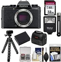 Fujifilm X-T100 Digital Camera Body (Black) with 32GB Card + Battery + Tripod + Flash + Case + Kit
