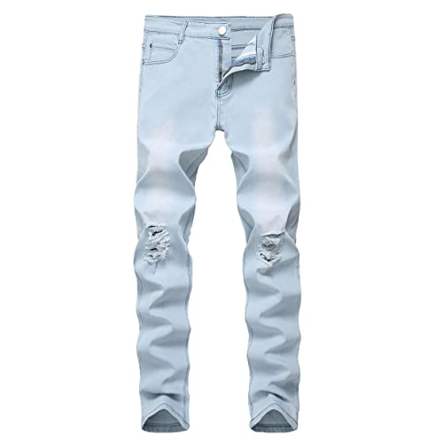 1db51edf33e Qazel Vorrlon Men's Slim Fit Black Stretch Destroyed Ripped Skinny Denim  Jeans