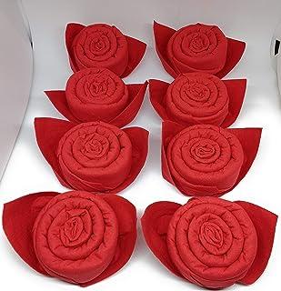 Pétales de rose en rouge. Plié prêt Ø 6 cm. Fait d'une serviette en tissu. 8 pcs. Comme cadeau ou pour vos invités spéciaux.