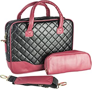 G4 Ibook 14.1 Inch Black Diamond Quilted Pattern With Red Accent Trim Bubble Foam Padded Laptop Computer Notebook Sleeve Office Tote Briefcase Carry Case Messenger Shoulder Bag Usar Por Duo Core
