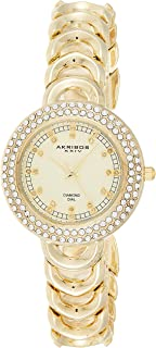 Akribos XXIV Women's Empire Diamond and Crystal-Accented Metal Watch with Link Bracelet