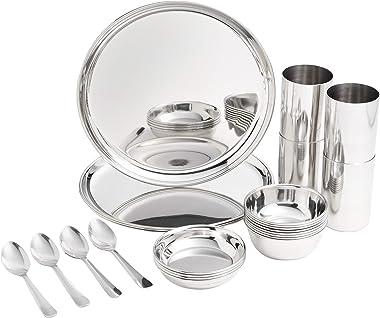 Amazon Brand - Solimo Stainless Steel Dinnerware Set, 24 Pieces