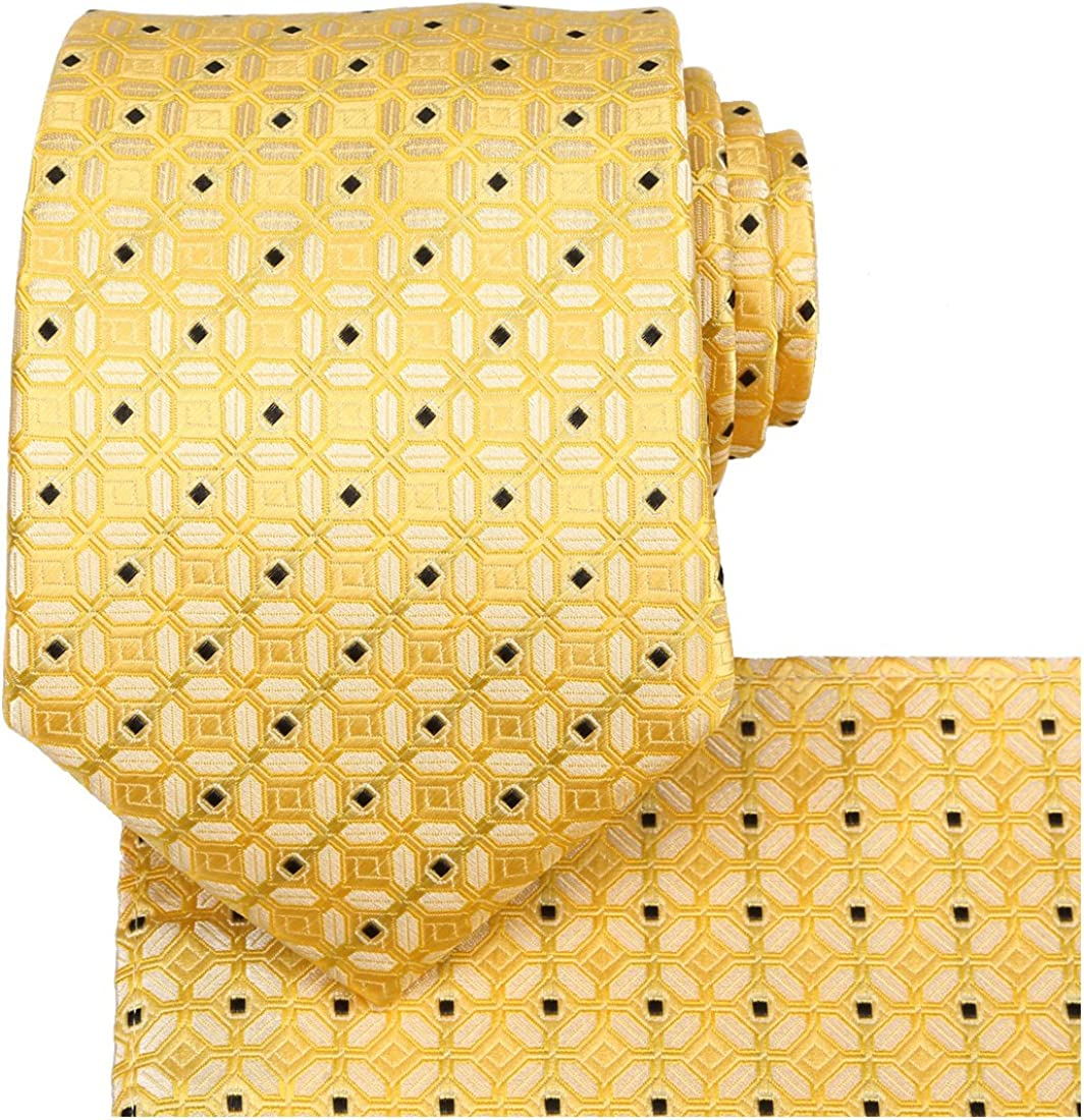 KissTies Tie And Pocket Square Solid Color Checkered Ties