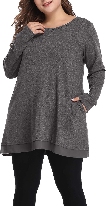 Shiaili Autumn Plus Size Tops for Women Hidden Pocket Shirts Long Flowy Tunic