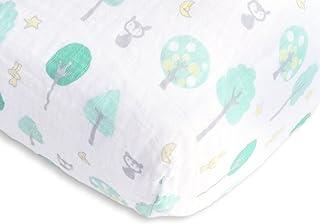 SwaddleDesigns Cotton Muslin Fitted Crib Sheet/Toddler Sheet, Green Woodland