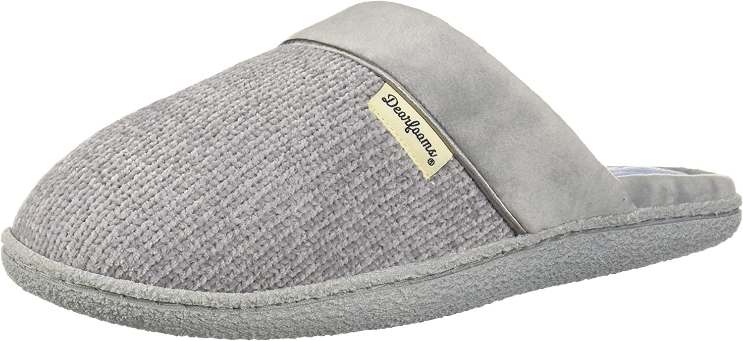 Dearfoams Womens Chenille Clog with Quilted Sock Slipper