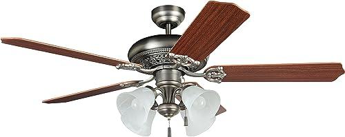 Litex MAN52AN5C4 Downrod Mount, 5 Ash/Mahogany Blades Ceiling fan with 3 watts light, SILVER