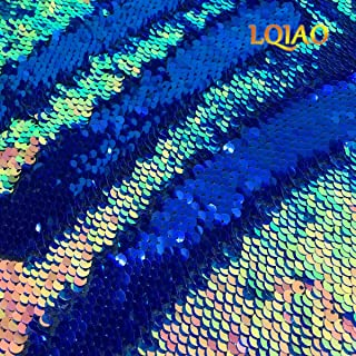 LQIAO 1 Yard Fluorescence Gold Sequin Fabric Flip Up Mermaid Reversible Color Changing Strips Shimmer Sequin Fabric by the Yard Wedding/Pillow Cover/Dress Home DIY