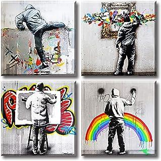 Banksy Street Graffiti Art Wall Decor Pop Art Colorful Paintings Canvas Prints Modern Artwork for Living Room Bedroom Offi...
