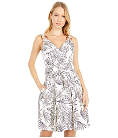 Vince Camuto Printed Linen Tie Front Fit-and-Flare with O Ring Detail (Ivory/Navy) Women