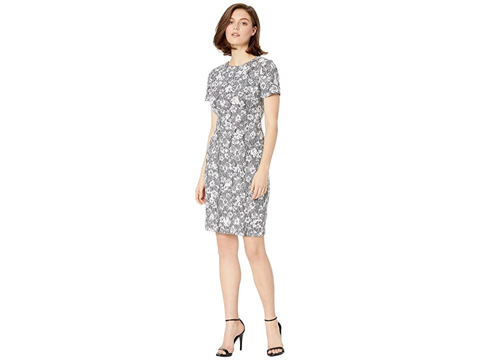 LAUREN Ralph Lauren 155F Heathered Bond Lace Avondella Short Sleeve Day Dress (Heather Grey/Colonial Cream) Women
