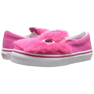 Vans Kids Party Fur Slip-On Friend (Little Kid/Big Kid) ((Party Fur) Magenta/True White) Girls Shoes