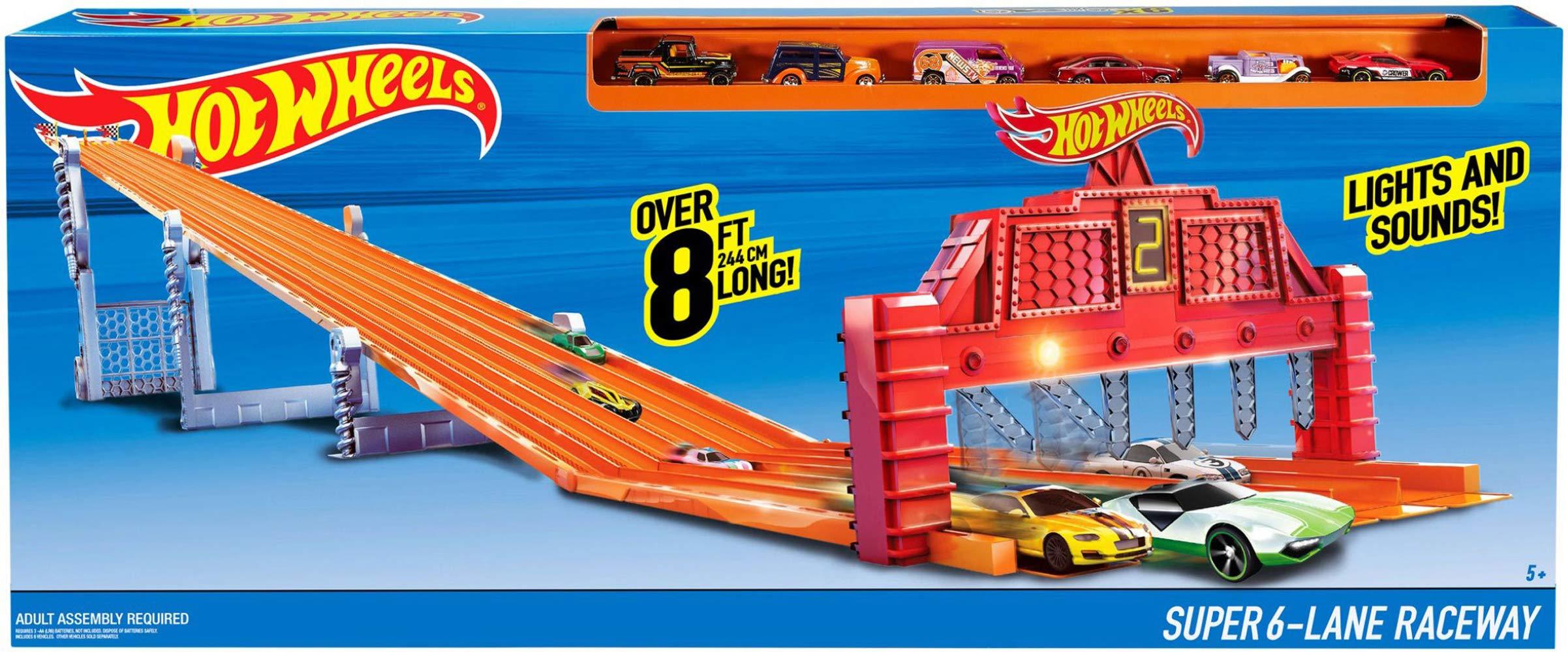 Hot Wheels Mattel V1983 Pista de Carreras con 6 carriles: Amazon ...