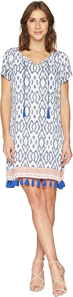 Textured Crepe Short Sleeve Knee Length Dress with Tassel Detail