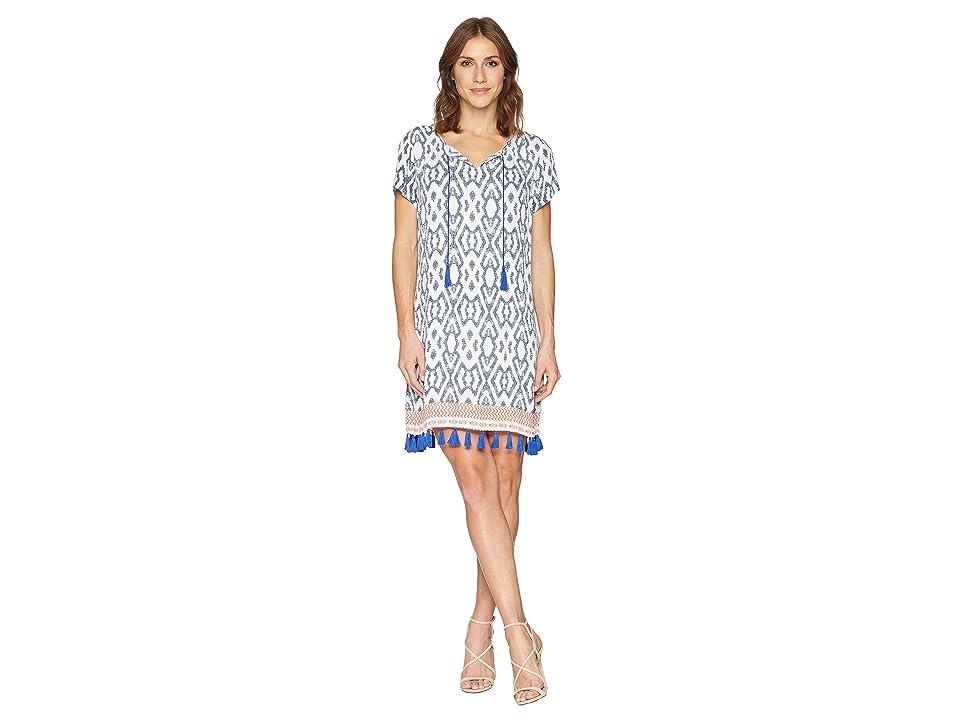 Tribal Textured Crepe Short Sleeve Knee Length Dress with Tassel Detail (Deep Sky) Women