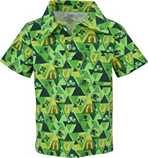 Unique Baby Boys St Patricks Day Clover Print Button Up Collared Polo Shirt