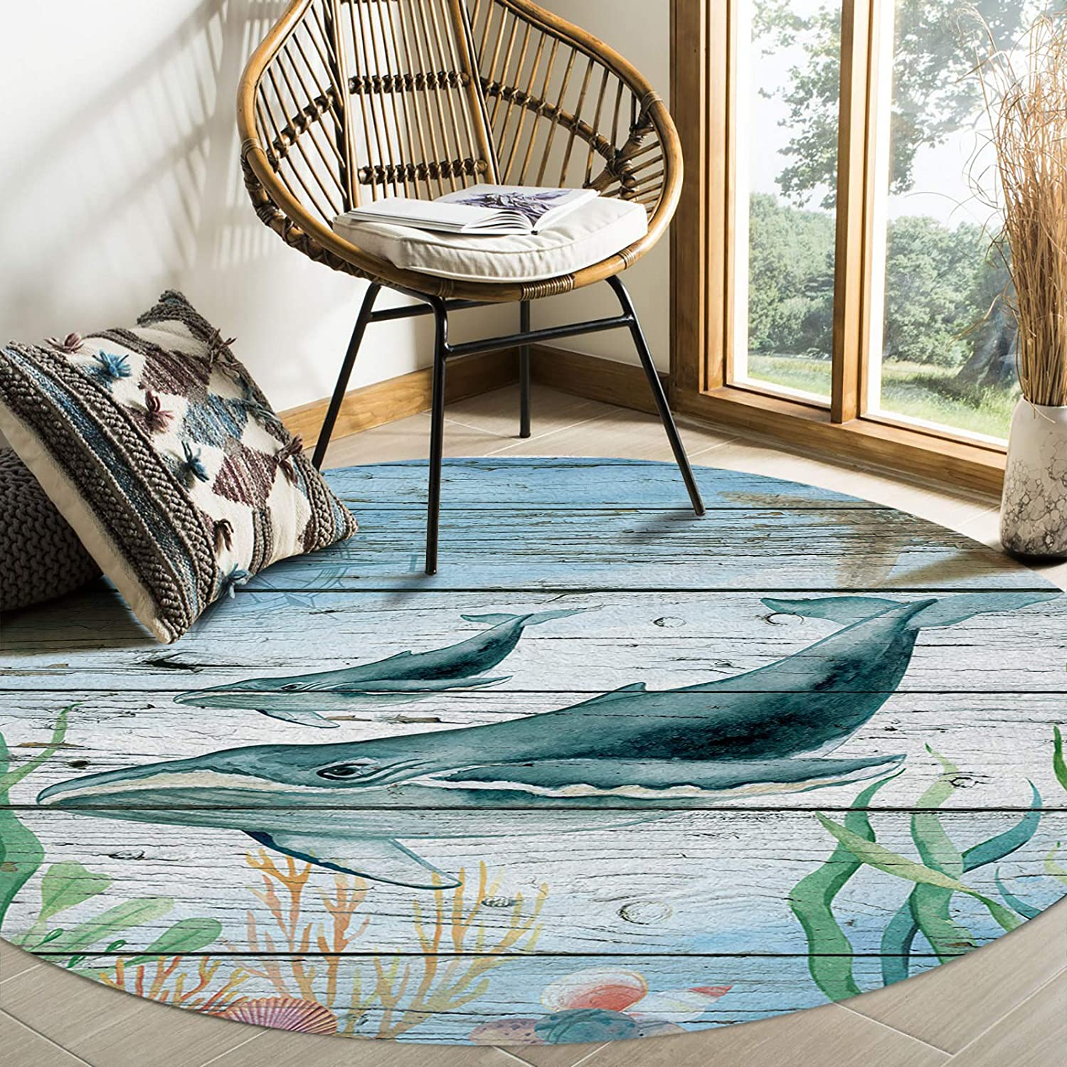 Singingin Round Area Max 75% OFF Rugs for Kids Max 48% OFF Animal Starf Ocean Room Whale