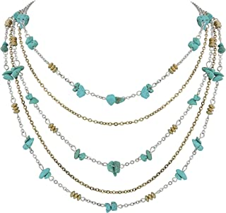 """COIRIS Simulated Turquoise Beads Strand Statement Necklace for Women with Earrings 20.8"""" N0044"""