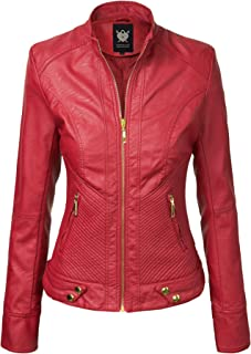 1b3a0025918 Lock and Love Women s Quilted Faux Leather Moto Biker Jacket