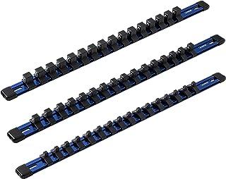 ARES 60041-3 peças conjunto de trilhos de soquete de alumínio azul de 43 cm – 0,6 cm, 0,9 cm e organizadores de soquete de...
