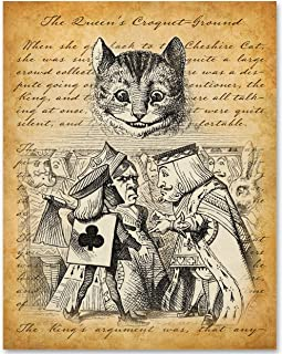 Alice in Wonderland - The Queen of Hearts and Cheshire Cat - 11x14 Unframed Alice in Wonderland Print - Makes a Great Gift Under $15 for Disney Fans or Girl's Room