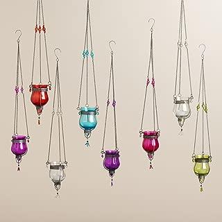 Glass Dahlia Hanging Tealight Lanterns Set of 8 3.5