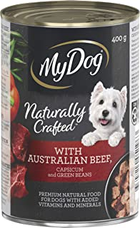 MY DOG Naturally Crafted Wet Dog Food Beef 400g Can, 24 Pack, One Size