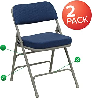 Flash Furniture 2 Pk. HERCULES Series Premium Curved Triple Braced & Double Hinged Navy Fabric Metal Folding Chair -