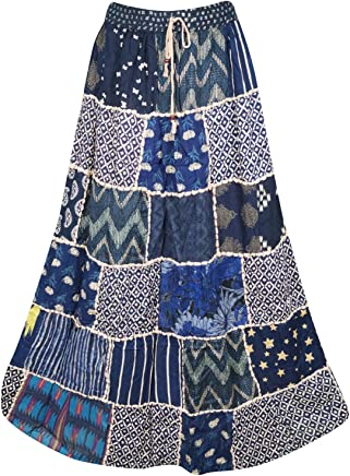 Women Maxi Skirt Patchwork Blue Rayon Vintage Flare Skirt S/M