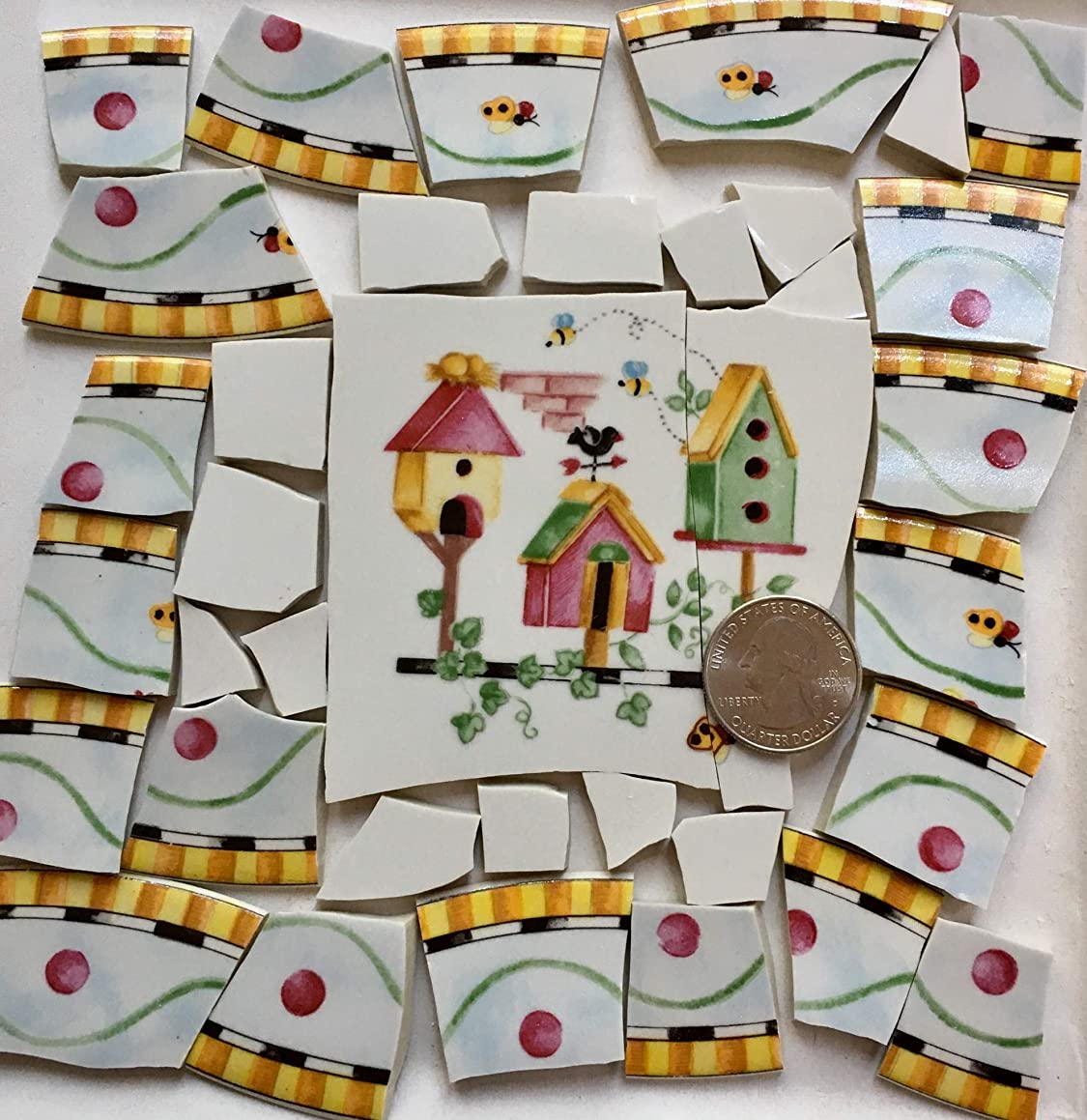 Broken China Mosaic Tile Art Supply for Crafts ~ Coventry Pentelopes Garden Birdhouse & Solid White Tiles (T#A056)