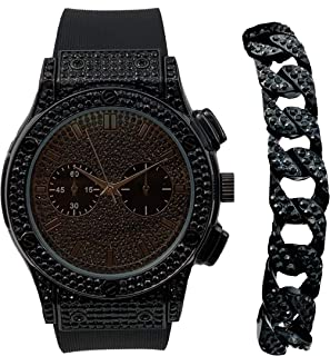 Hip Hop Bang Bang All Over You Men's Watch with Black Iced Cuban Bracelet - Bling-ed Out Case and Dial with Easy Lock Smooth Black Rubber Band - ST10311BKC Cuban Set