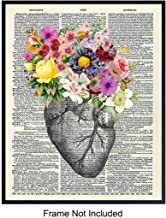Heart with Flowers On Photo of Dictionary Page - Wall Art Print - Steampunk Chic Home Decor - Great Gift for Doctors and Nurses - Ready to Frame (8x10) Vintage Photo