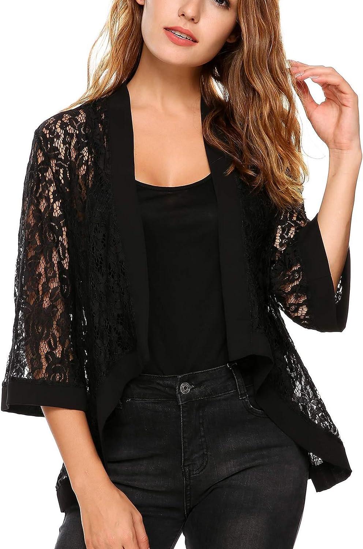 Meanor  Women Floral Lace Cardigan Shrug 3 4 Sleeve Front Open Bolero Blouse Crop Top, Black 2, Medium